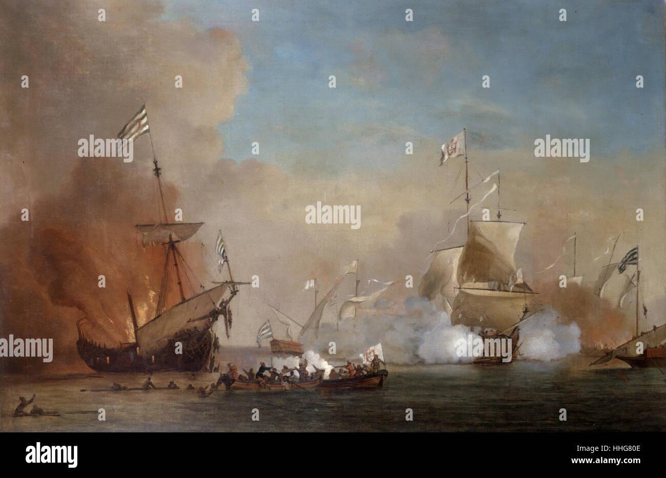 School of William Van der Velde 1663-1707. Pirates attack an English Warship. Oil on Canvas - Stock Image
