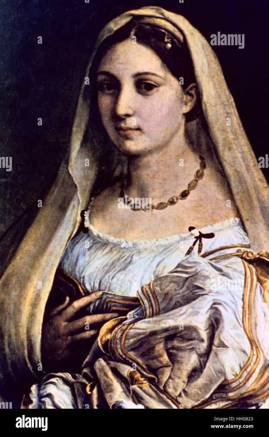 La Donna Velata (c. 1516). By Raffaello Sanzio da Urbino (1483-1520), known as Raphael, an Italian painter and architect Stock Photo