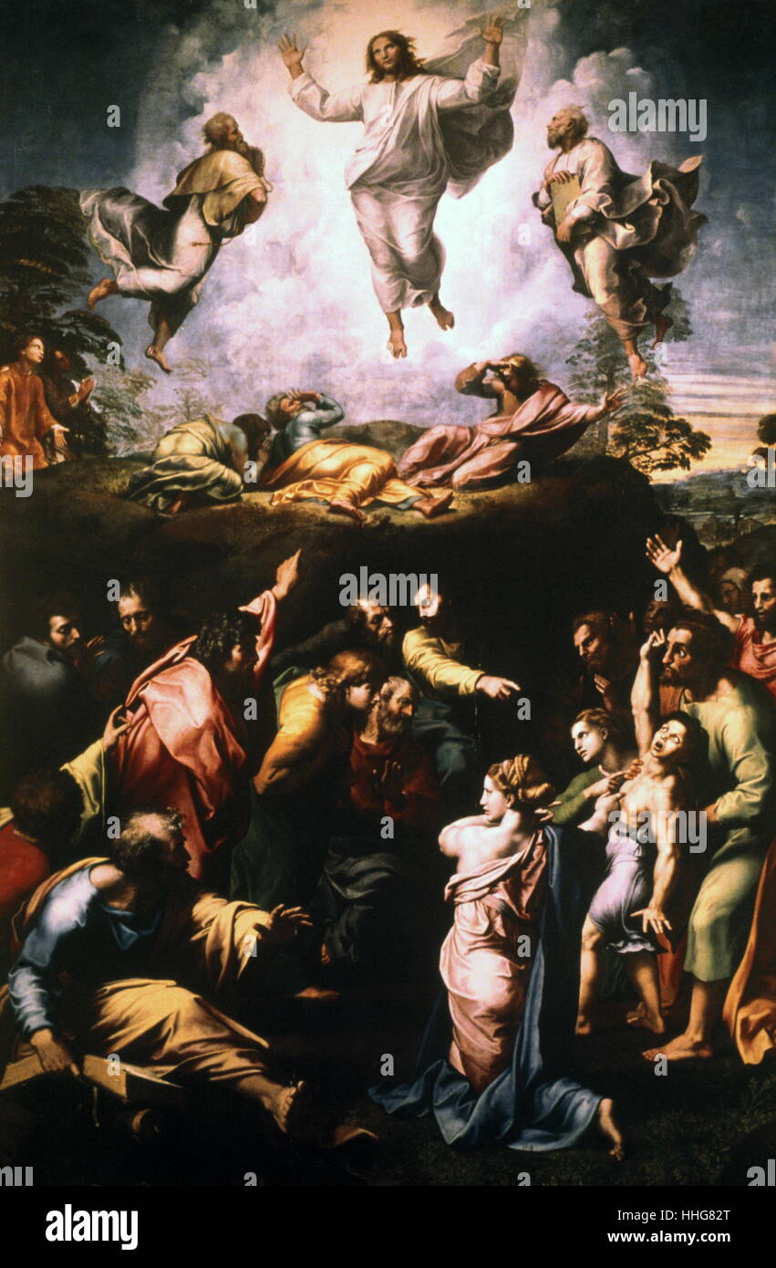 The Transfiguration. 1516-1520; tempera painting on wood, by the Italian High Renaissance artist (Raphael) - Stock Image
