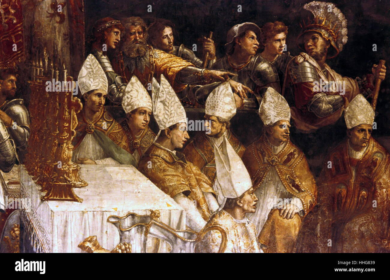 The Coronation Of Charlemagne Detail 1516 1517 Fresco By Italian High Renaissance Artist Raphael