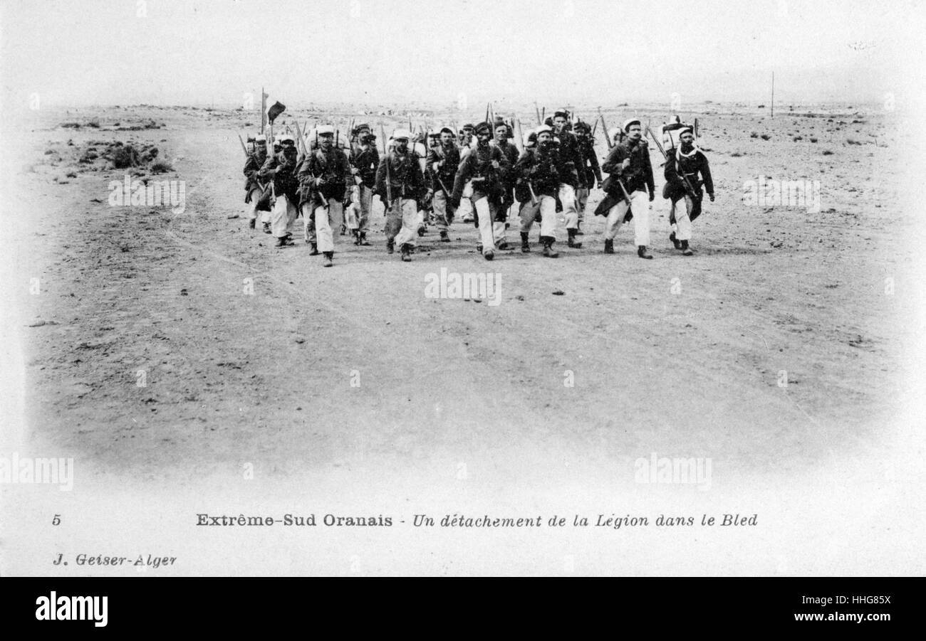 French Foreign Legion on patrol at Gharbia in Oran province, Algeria circa 1905 - Stock Image