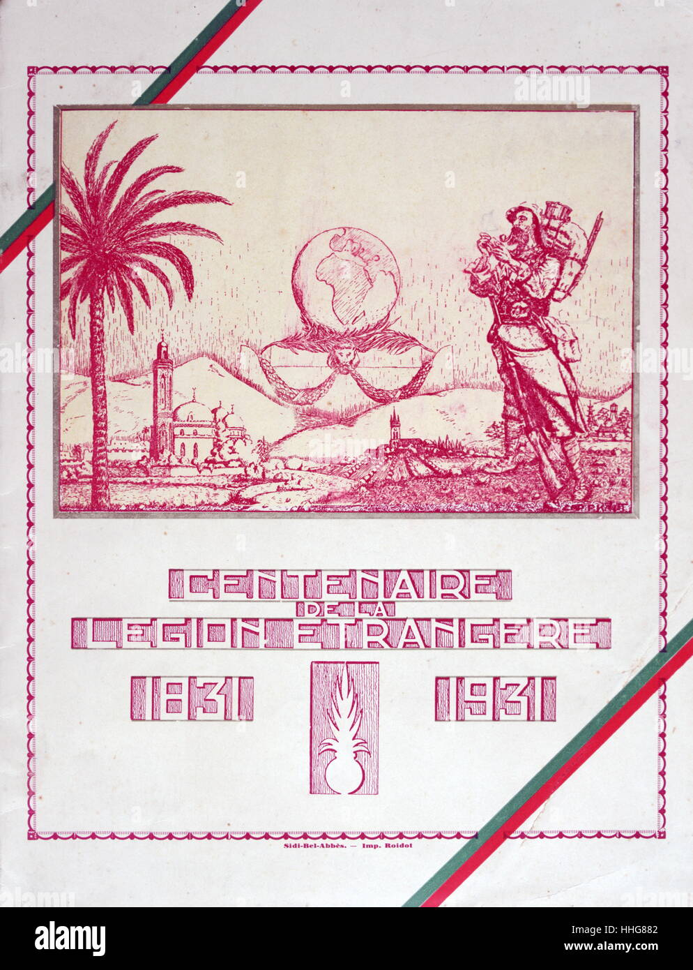 Commemorative cover of a book celebrating the centenary of the French Foreign Legion 1931 - Stock Image