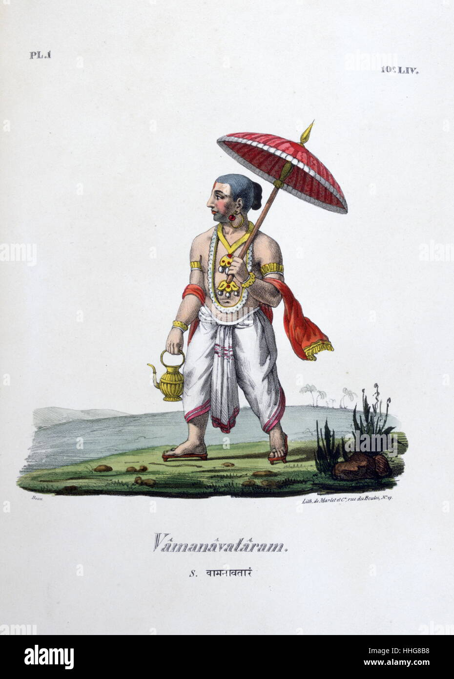Hindu myth of Dasavataram or Vamanavataram in the form of a dwarf. Lord Vishnu as appeared as Vamanavataram - Stock Image
