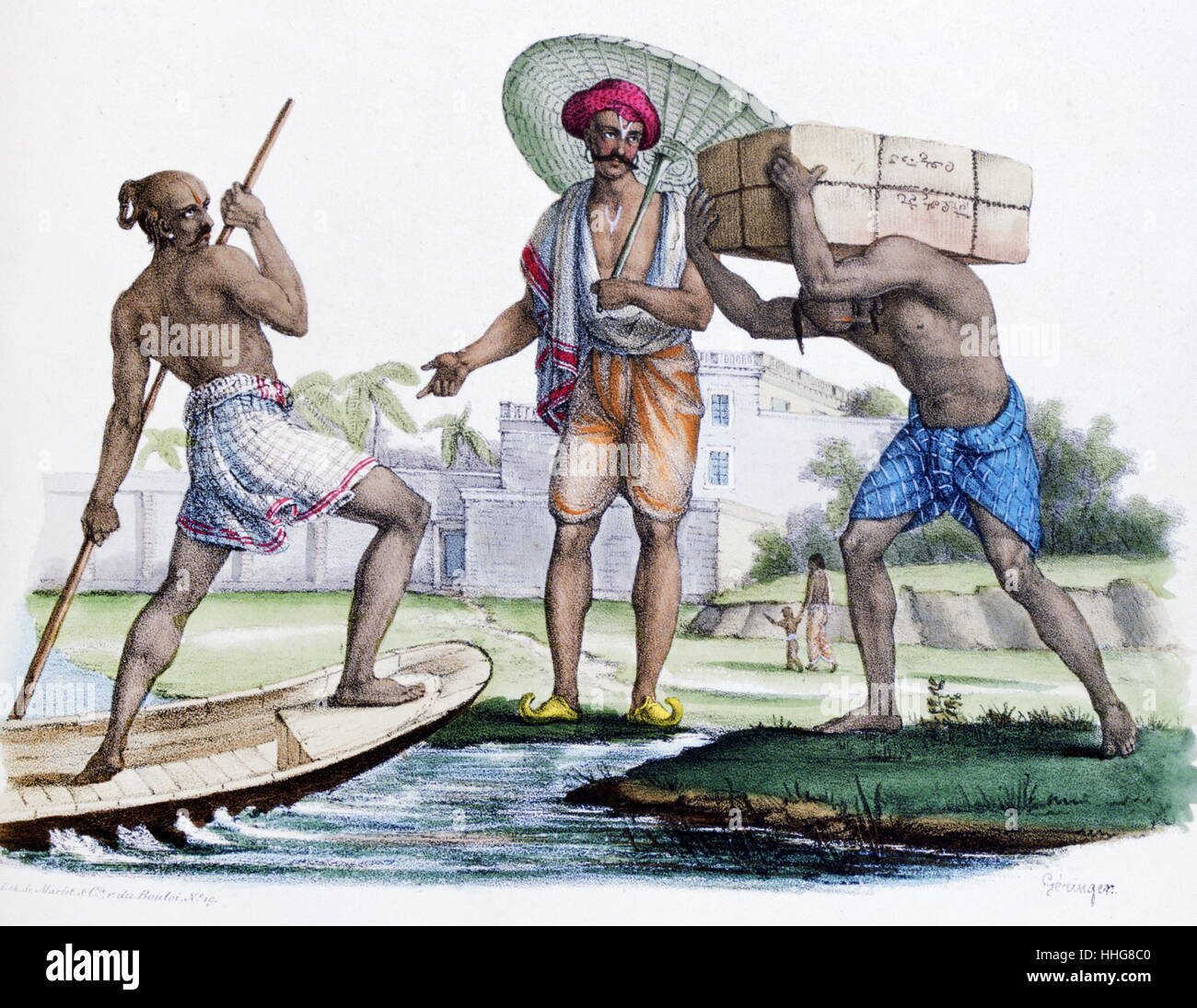 Indian Vaisha merchants. ;French; lithograph; India; By Marlet 1828. - Stock Image