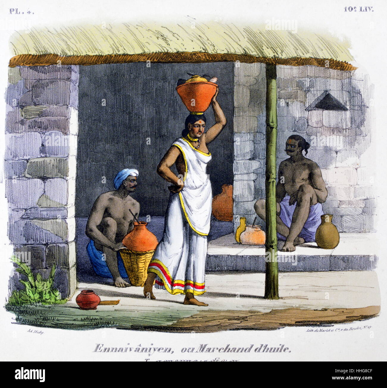 Oil merchants in India; early 19th Century. ;French; lithograph; By Marlet 1828 - Stock Image