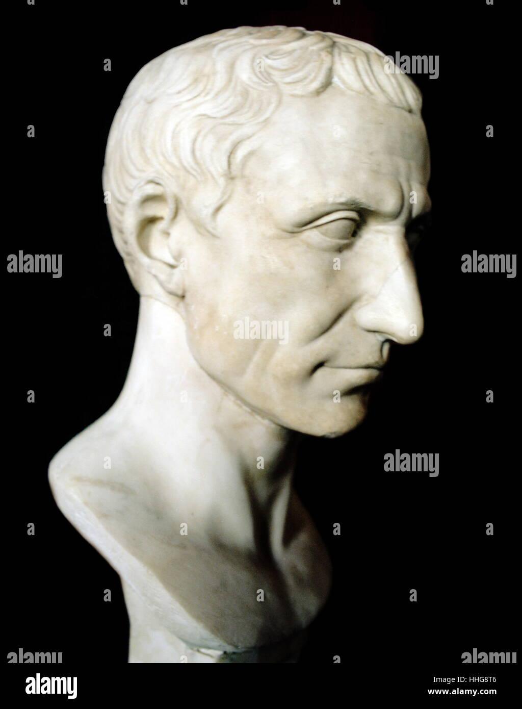 Gaius Julius Caesar (100 BC – 15 March 44 BC), known as Julius Caesar, was a Roman politician - Stock Image