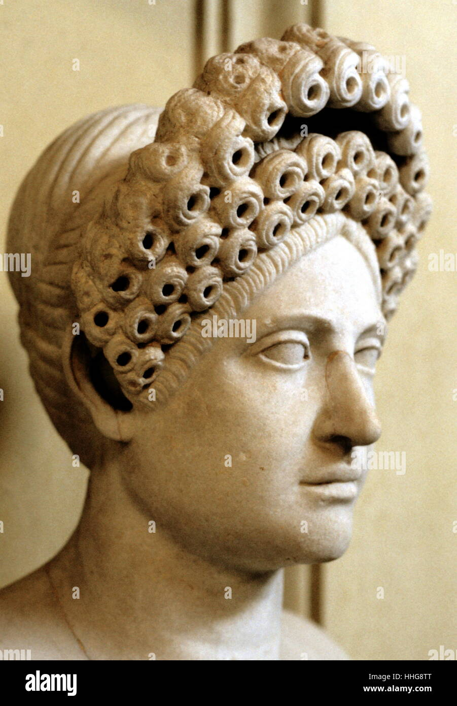 Bust of woman with elaborate Flavian hairstyle Roman, late first-second century AD - Stock Image