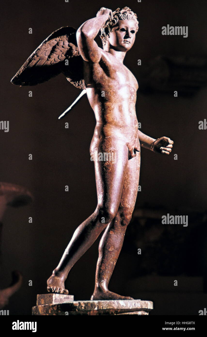 Agon figure in Bronze (Hellenistic) 2nd Century BC. Found Tunis. Bardo Museum. - Stock Image