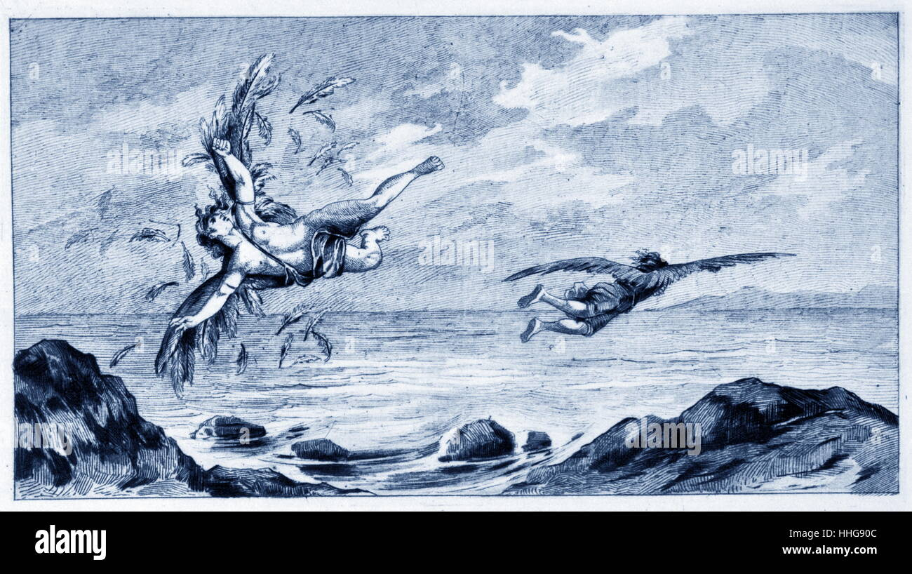Representation of the legend of Daedalus and Icarus. Illustration from a publication dated 1887. - Stock Image