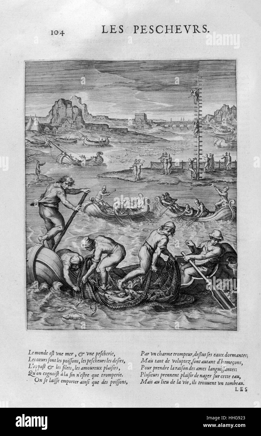 The Fishermen. Plate from Les Images Ou Tableaux 1615. - Stock Image