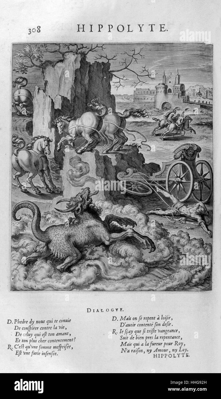 Hippolytus (Ancient Greek tragedy by Euripides), based on the myth of Hippolytus, son of Theseus. - Stock Image