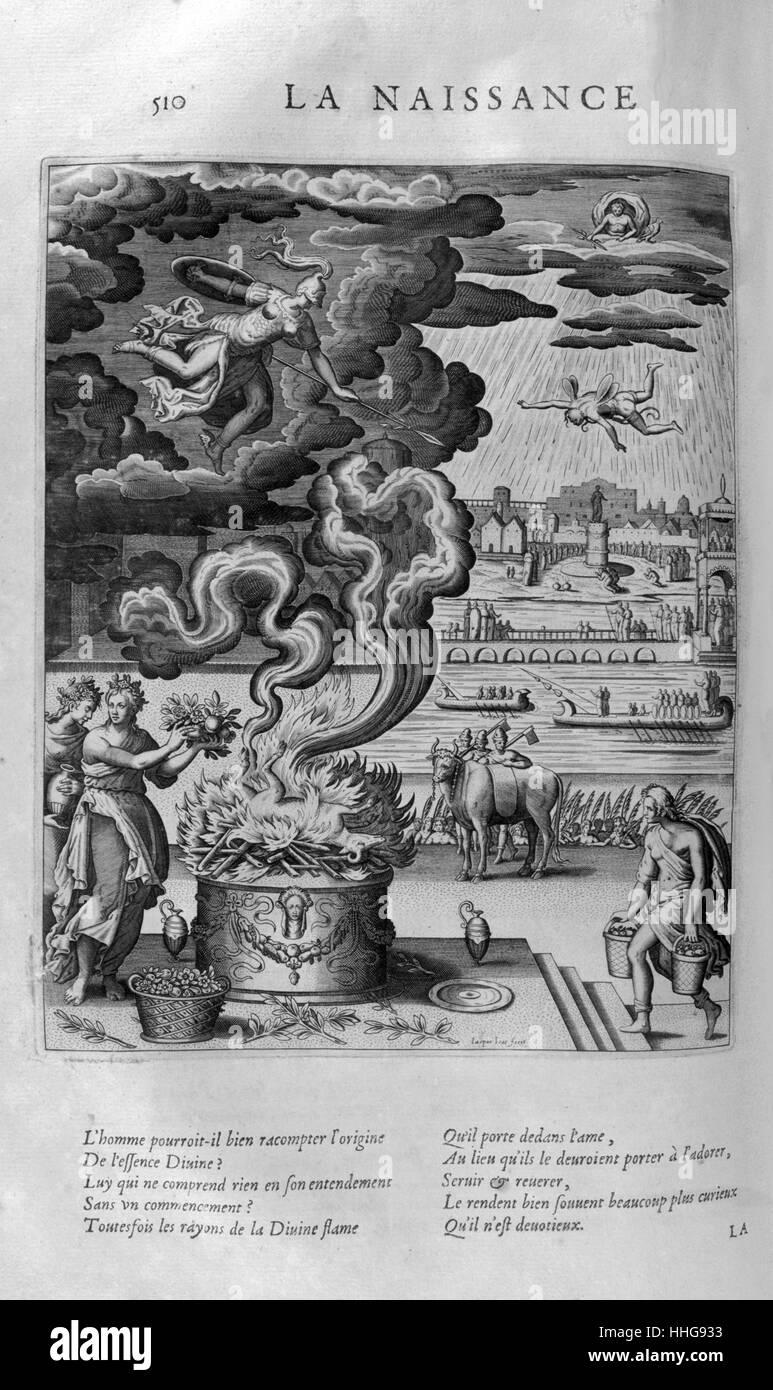 The birth of a divinity. Plate from Les Images Ou Tableaux De Platte Peinture Des Deux Philostrates Sophistes Grecs, Stock Photo