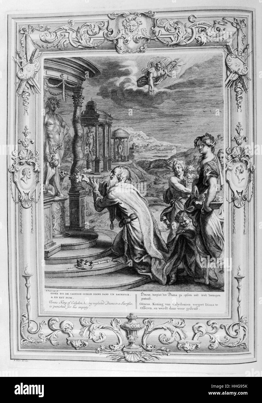 Oenus King of Calydon makes a sacrifice to the gods. Engraved illustration from 'The Temple of the Muses', - Stock Image
