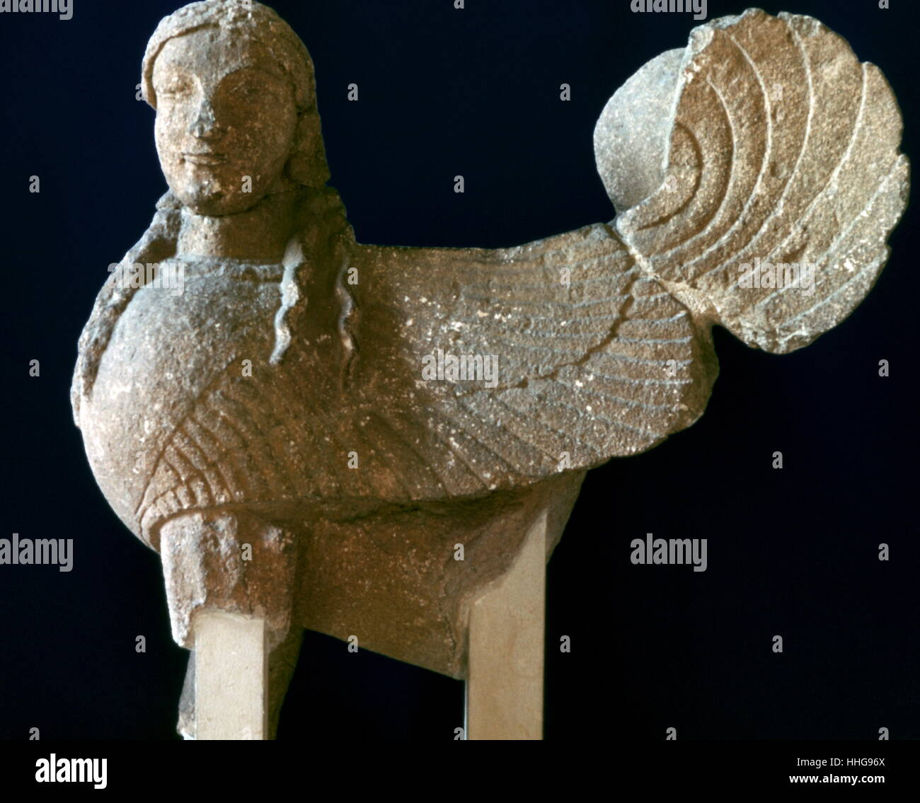 Sphinx from Cyprus, 6th century BC. Archaic Period. Louvre Paris - Stock Image