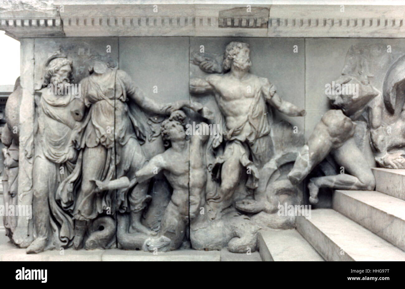 sea gods in Battle. Relief from the Pergamon Altar, reconstructed in the Pergamon Museum in Berlin. The Pergamon - Stock Image