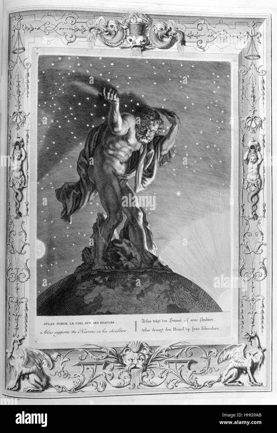 Atlas supports the heavens upon his shoulders Engraved illustration from 'The Temple of the Muses', 1733. - Stock Image