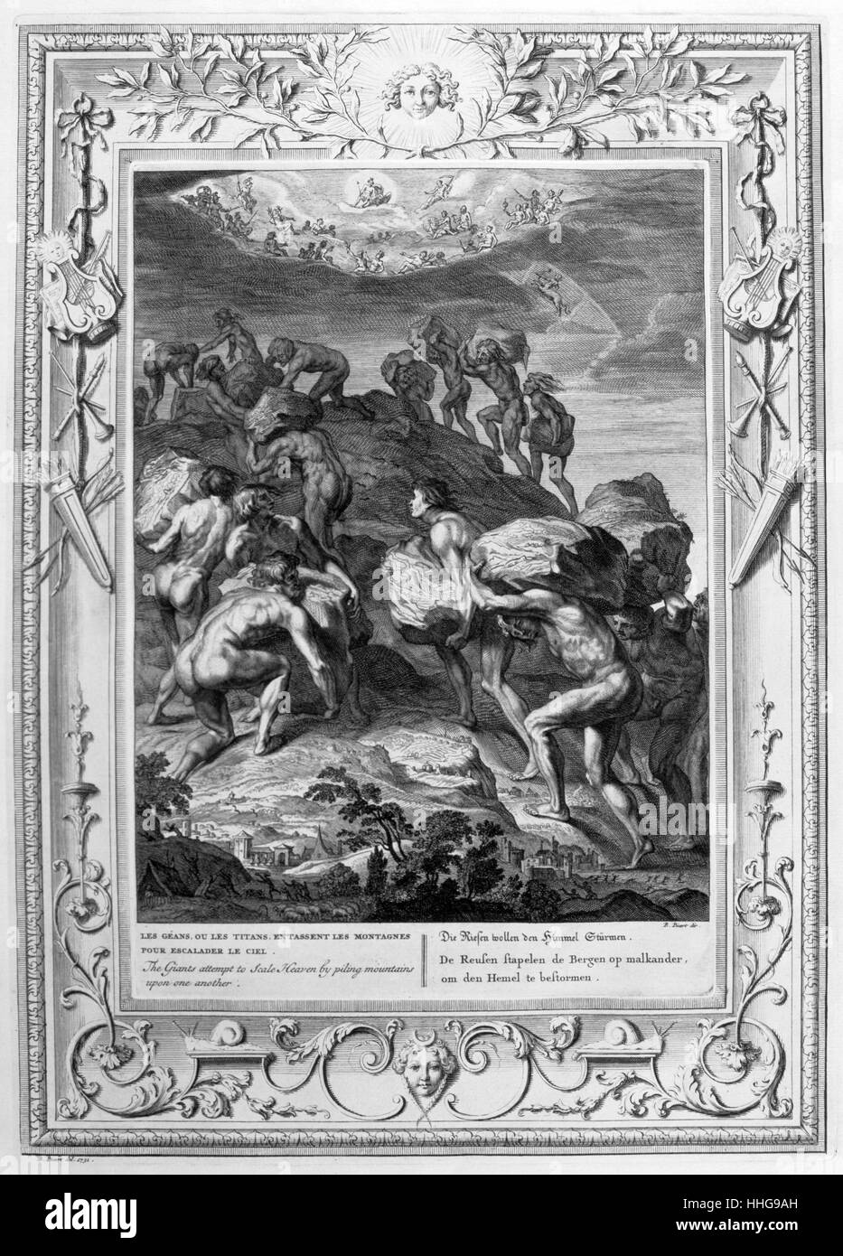 The Titans. Engraved illustration from 'The Temple of the Muses', 1733. - Stock Image
