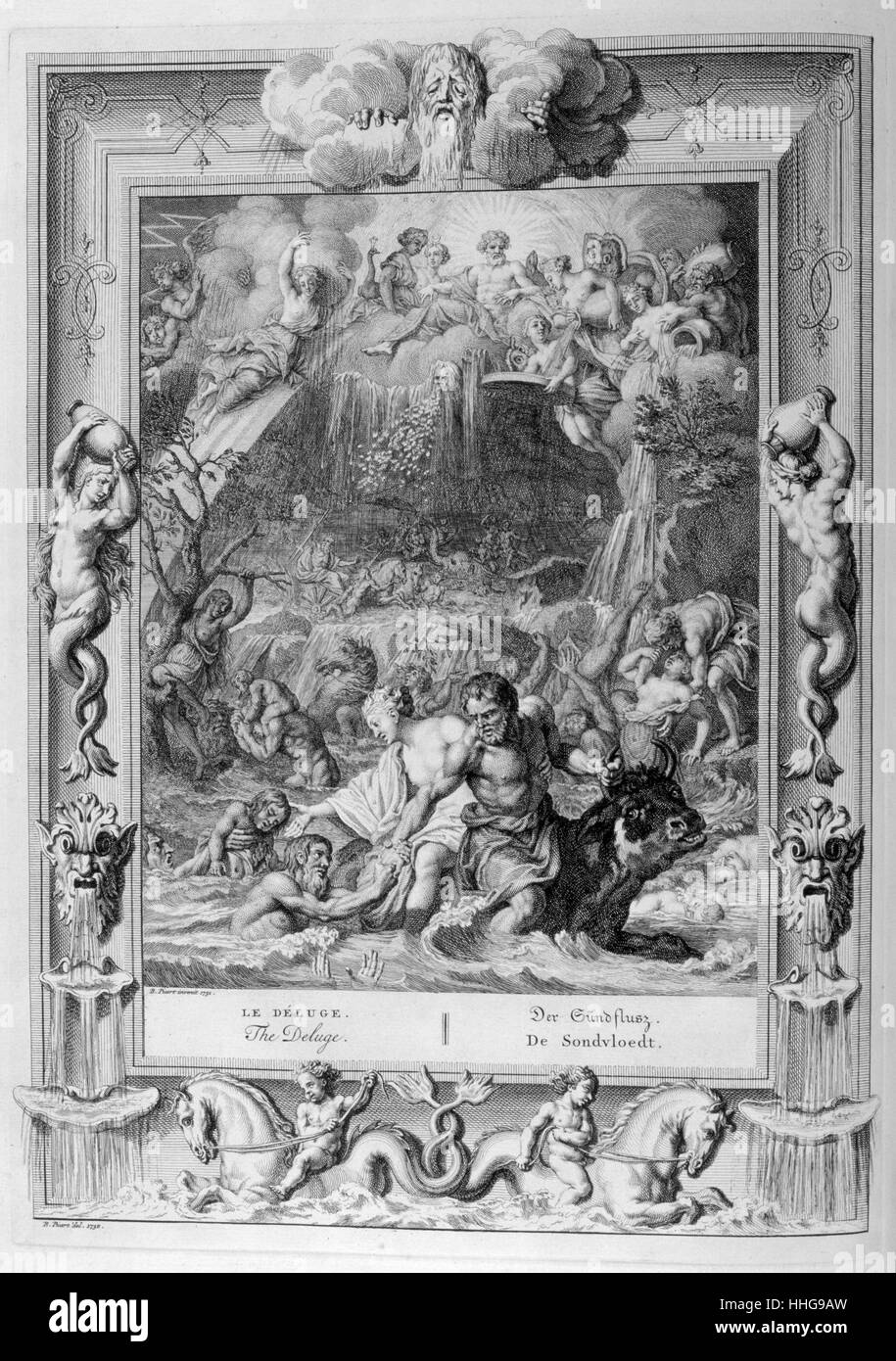 The Deluge. Engraved illustration from 'The Temple of the Muses', 1733. - Stock Image