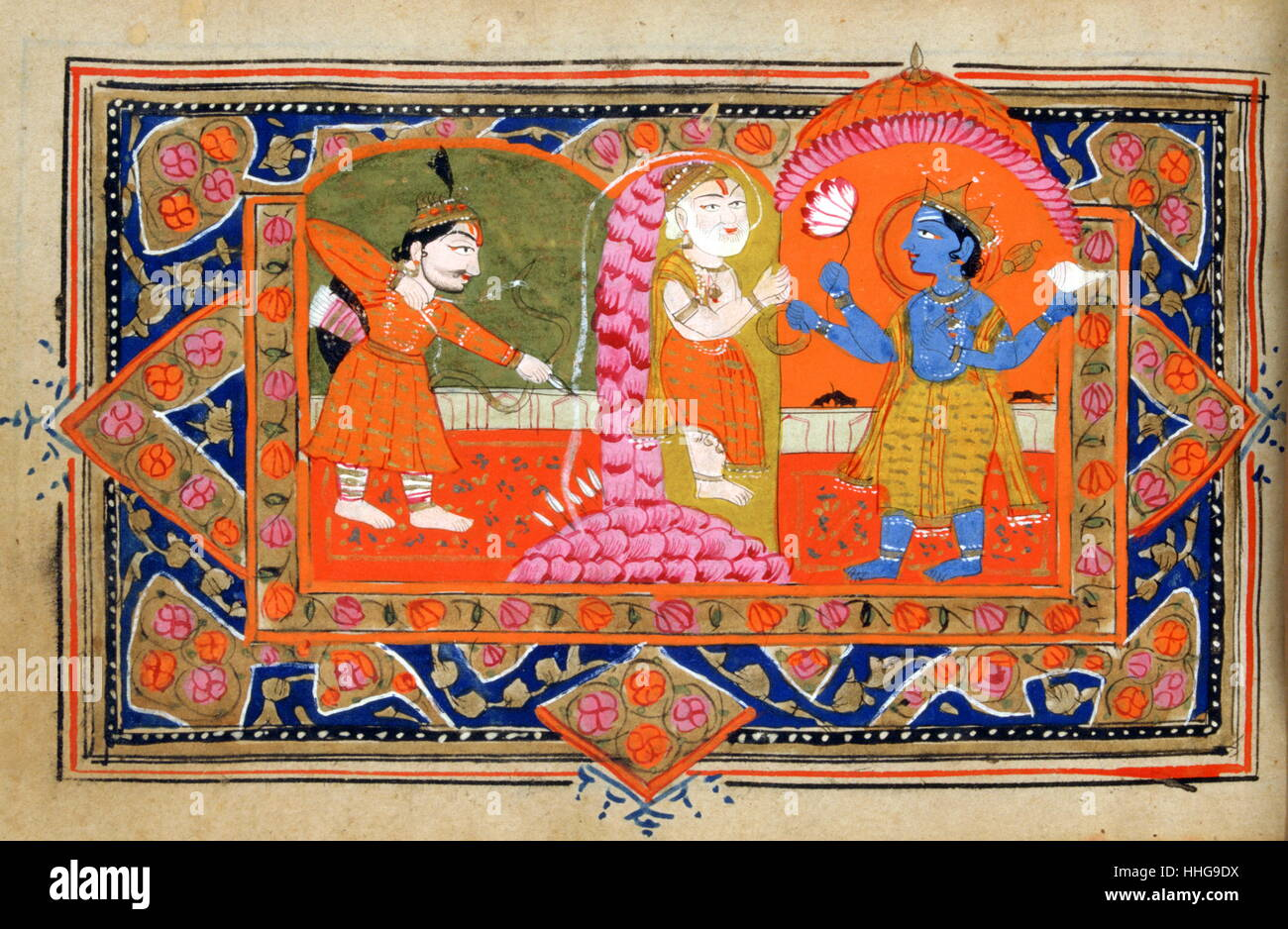 18th century Indian manuscript about the life of Krishna. - Stock Image