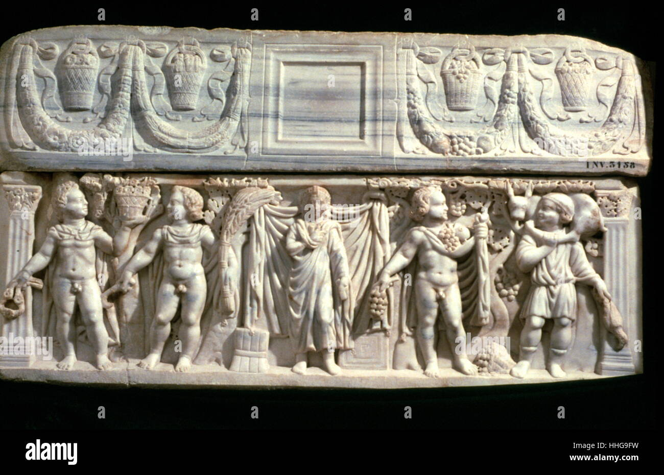 Bardo Museum, Tubnisia: Sarcophagus of the Four Seasons (IVth century AD ) Roman, Carthaginian Stock Photo