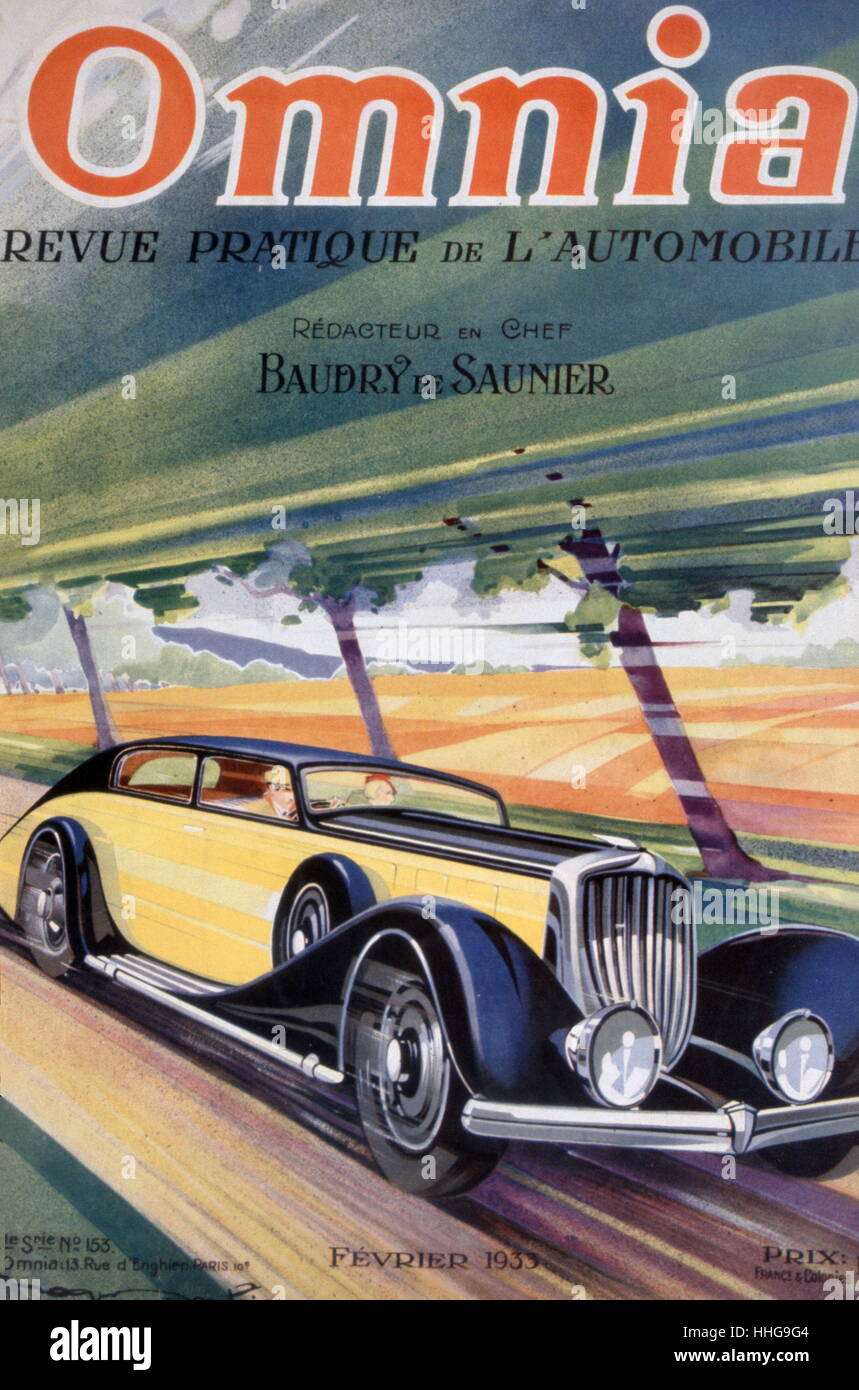 Cover of Omnia Motoring magazine 1933 by Roger Soubie 1898 - 1984; French illustrator and designer - Stock Image