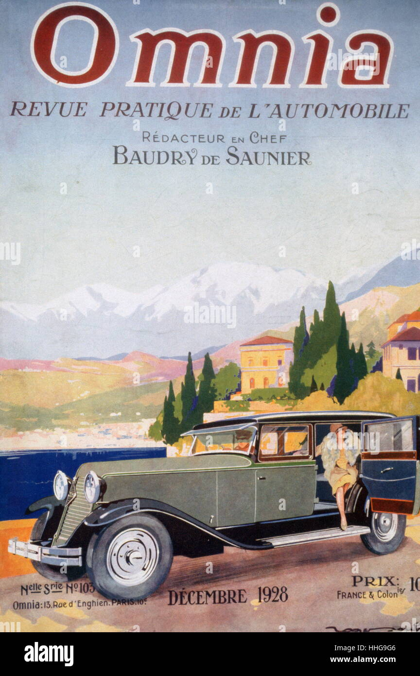Cover of Omnia Motoring magazine 1928, by Roger Soubie 1898 - 1984; French illustrator and designer - Stock Image