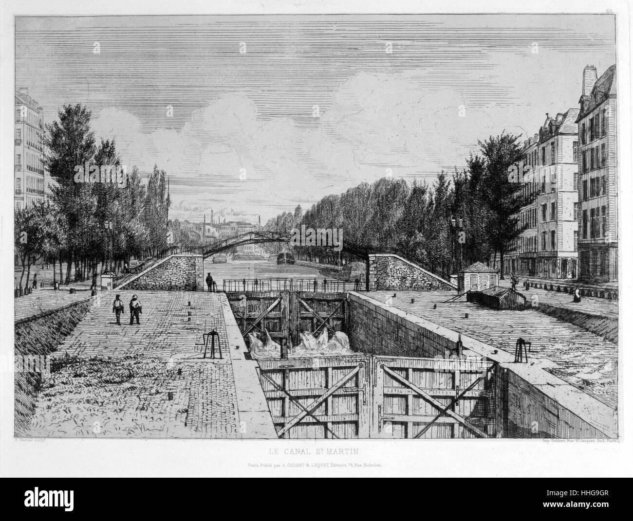 1880 illustration of the Canal Saint-Martin is a 4.5 km long canal in Paris. - Stock Image