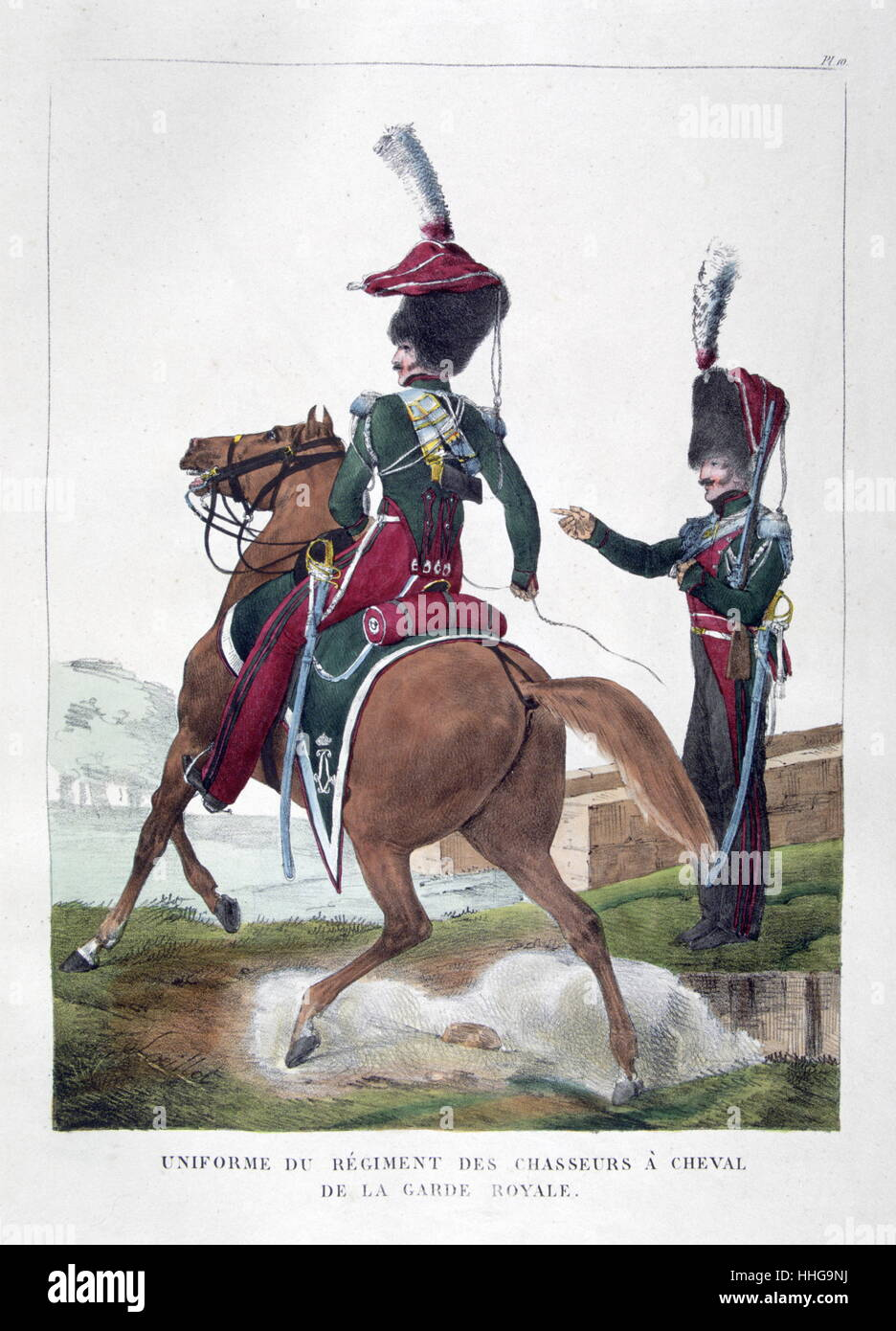 19th century French cavalry from the royal guard in uniform circa 1823 - Stock Image