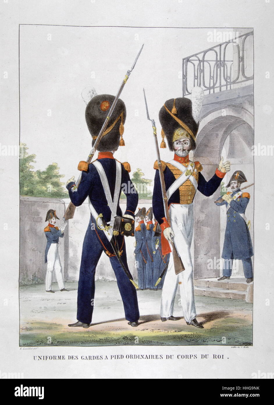 Uniformed soldiers of the French Royal Guard Regiment, 1823 - Stock Image