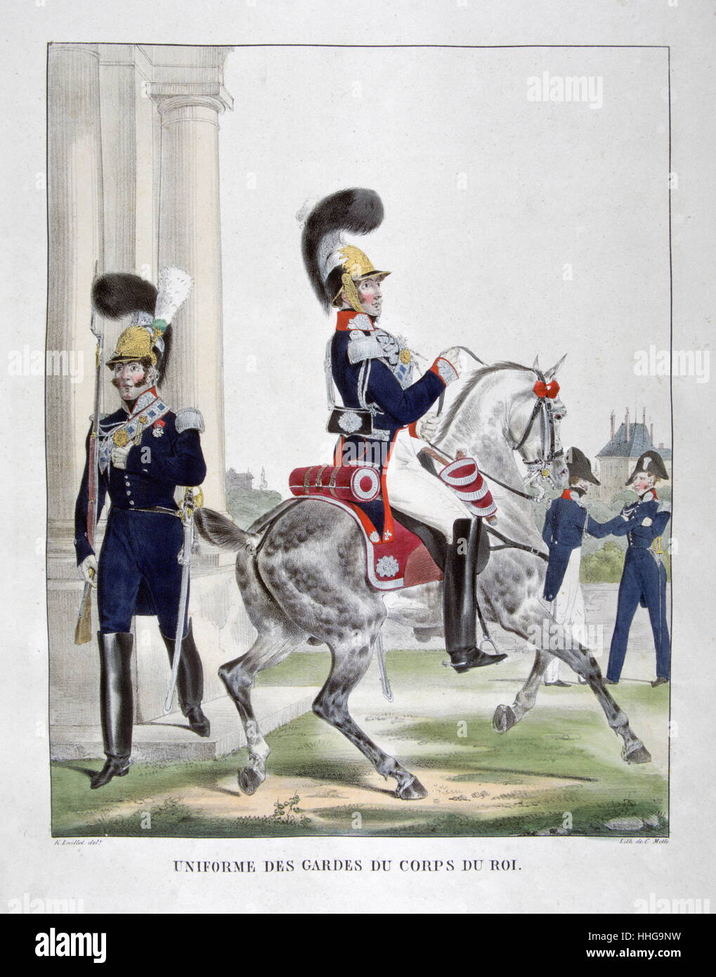 Uniformed cavalryman of the French Lancers, Royal Guard Regiment, 1823 - Stock Image