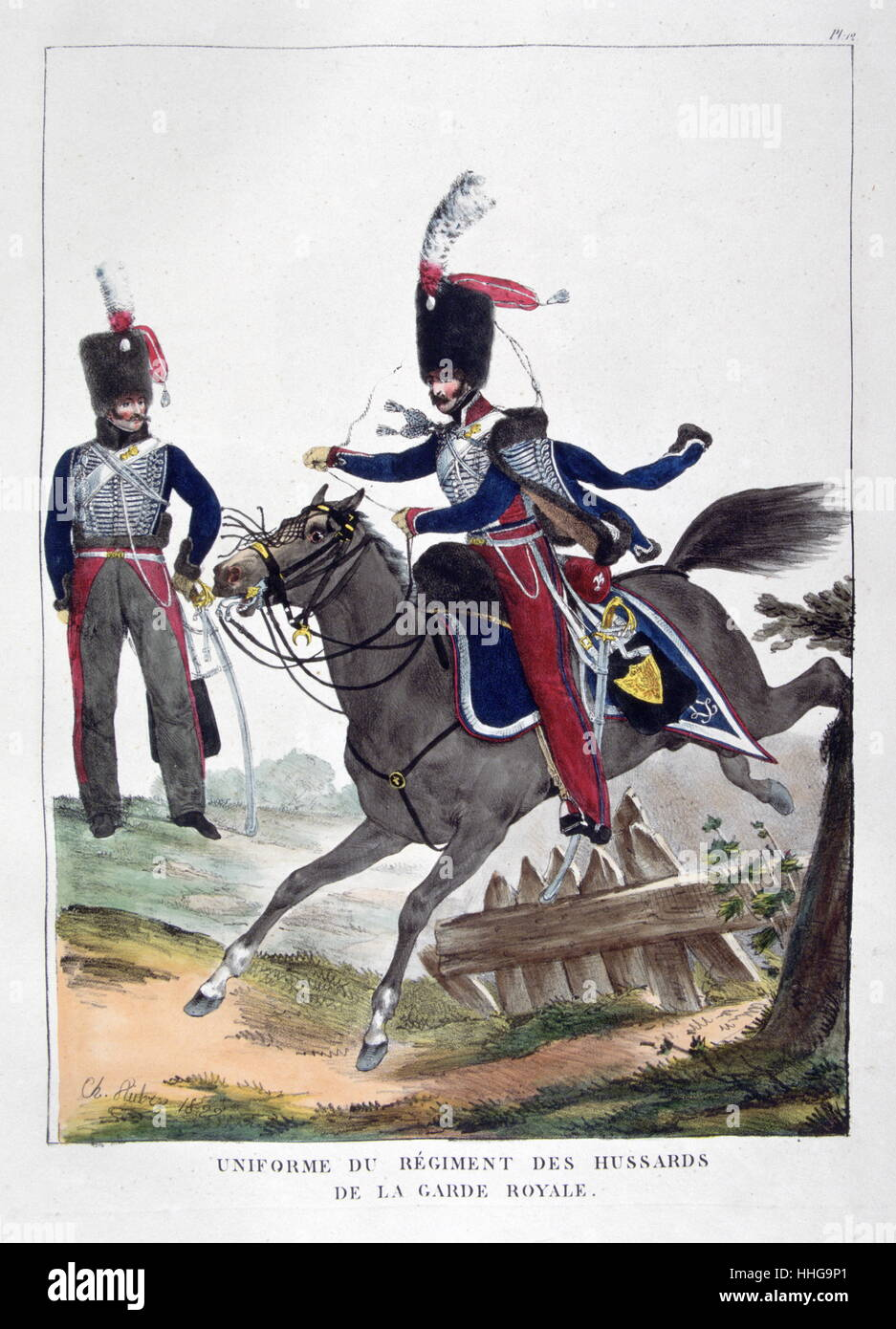 Uniformed cavalryman of the French Hussars, Royal Guard Regiment, 1823 - Stock Image