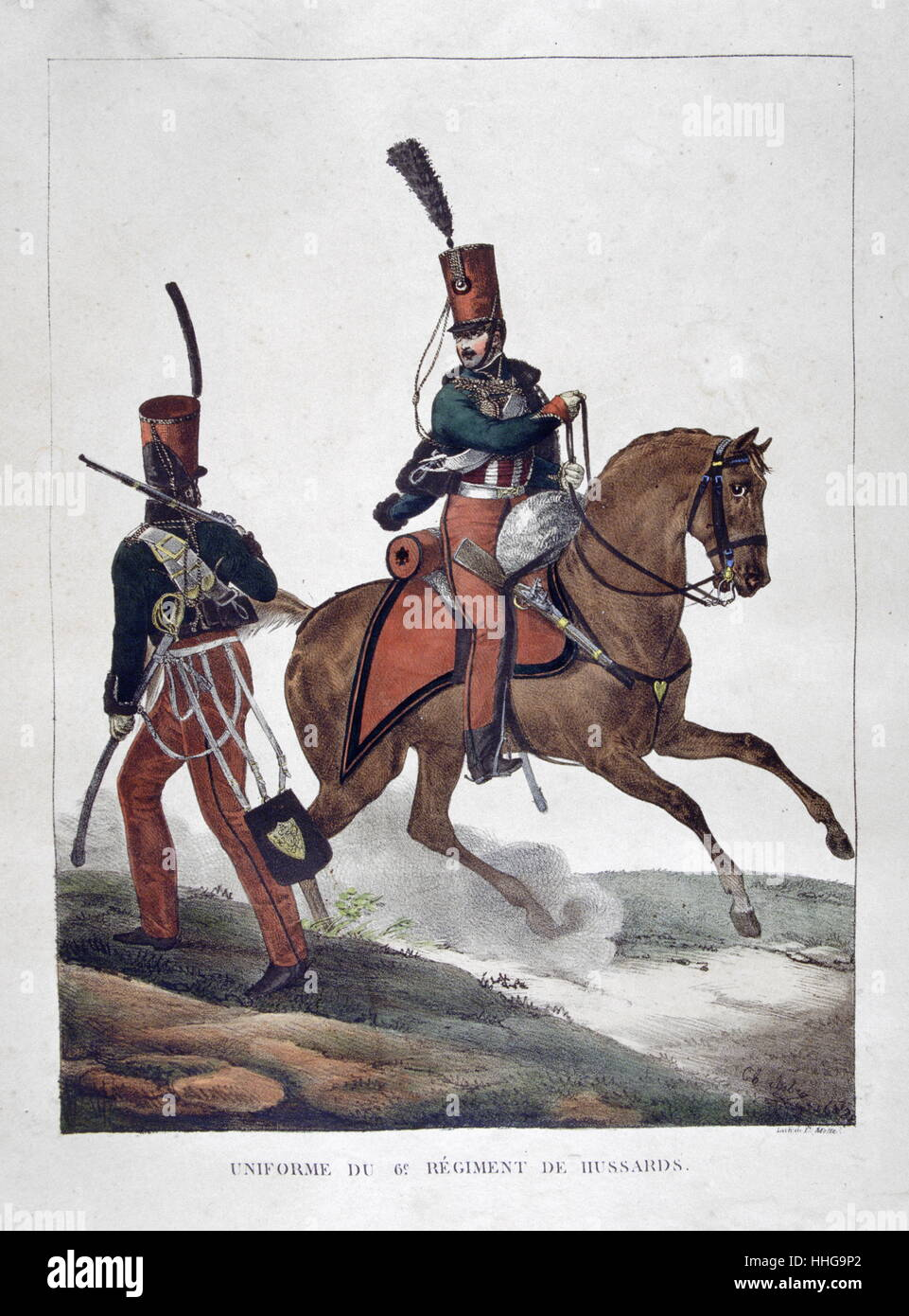 Uniformed cavalryman of the French Hussars Regiment, 1823 - Stock Image
