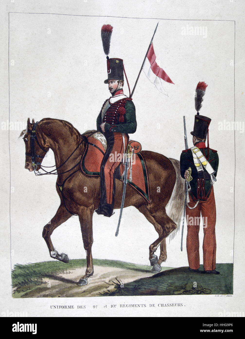 Uniformed cavalryman and soldier of the French Chasseurs Regiment, 1823 - Stock Image