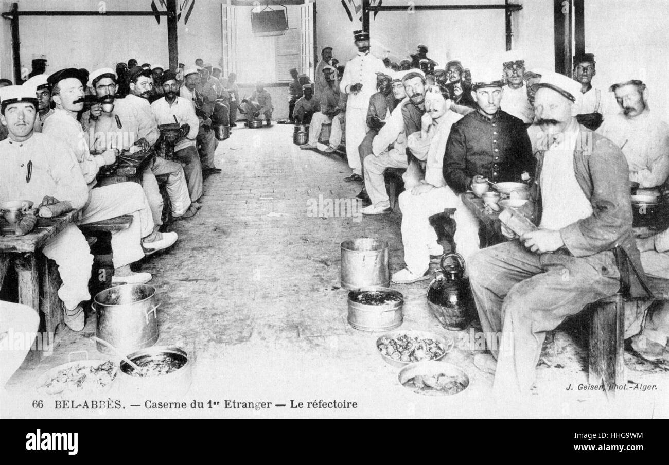 French Foreign Legion, kitchen for soldiers, Algeria, 1910 - Stock Image