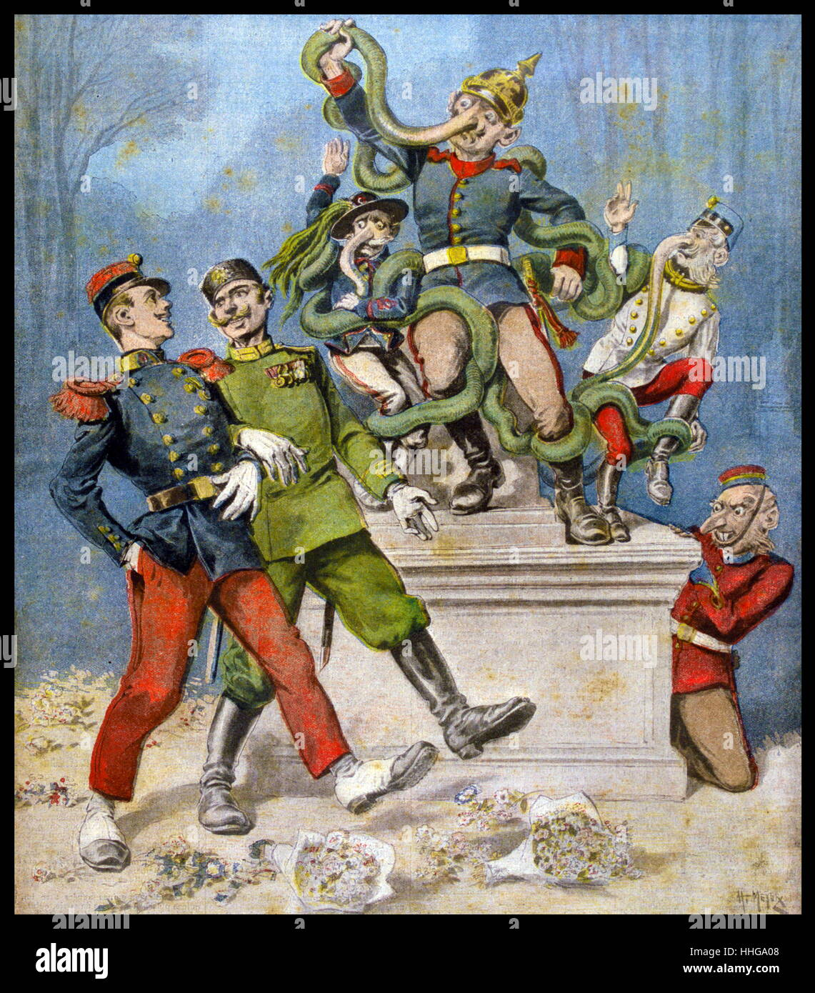 Cartoon showing the Triple Alliance between Germany, Italy and Austria. - Stock Image