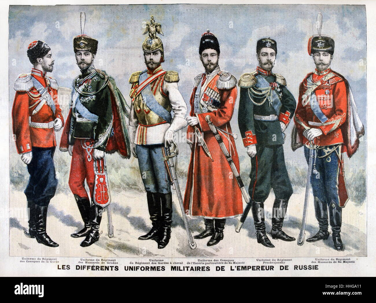 Different uniforms worn by Tsar Nicholas II of Russia deposed in 1917 - Stock Image