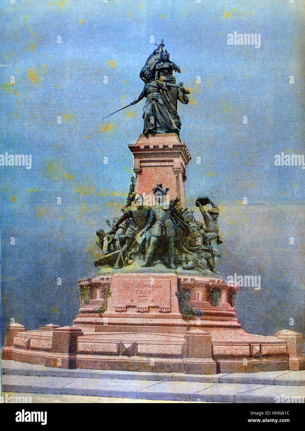 Monument to the Battle of Saint-Quentin of 1557 was fought during the Franco-Habsburg War (1551-1559). - Stock Image