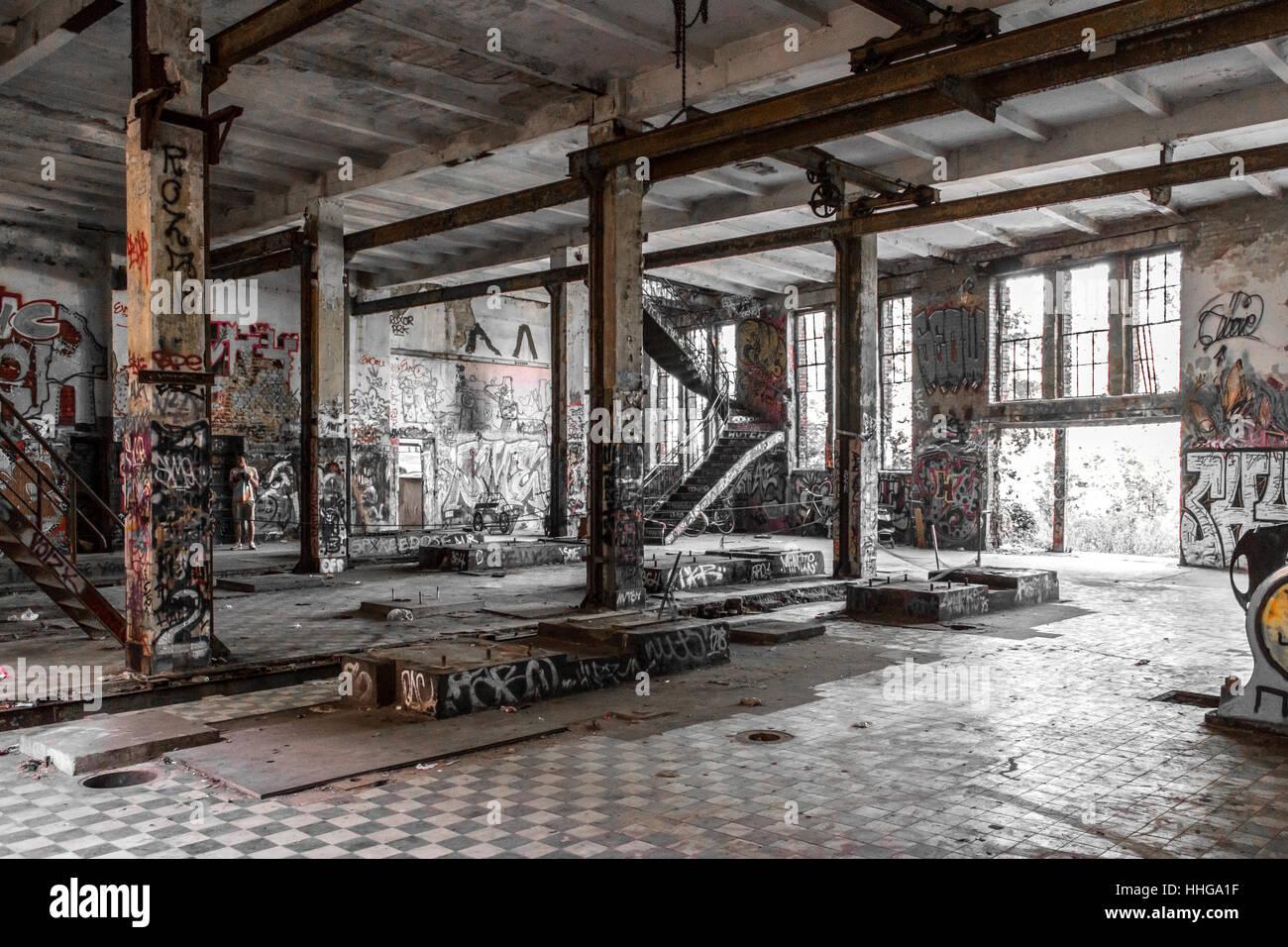 Rundown Building Decay Stock Photos Rundown: Empty Room In Abandoned Factory Ruin