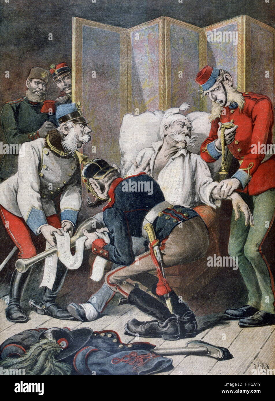1896 Cartoon, depicting deterioration of the Triple Alliance, a secret agreement between Germany, Austria-Hungary, - Stock Image