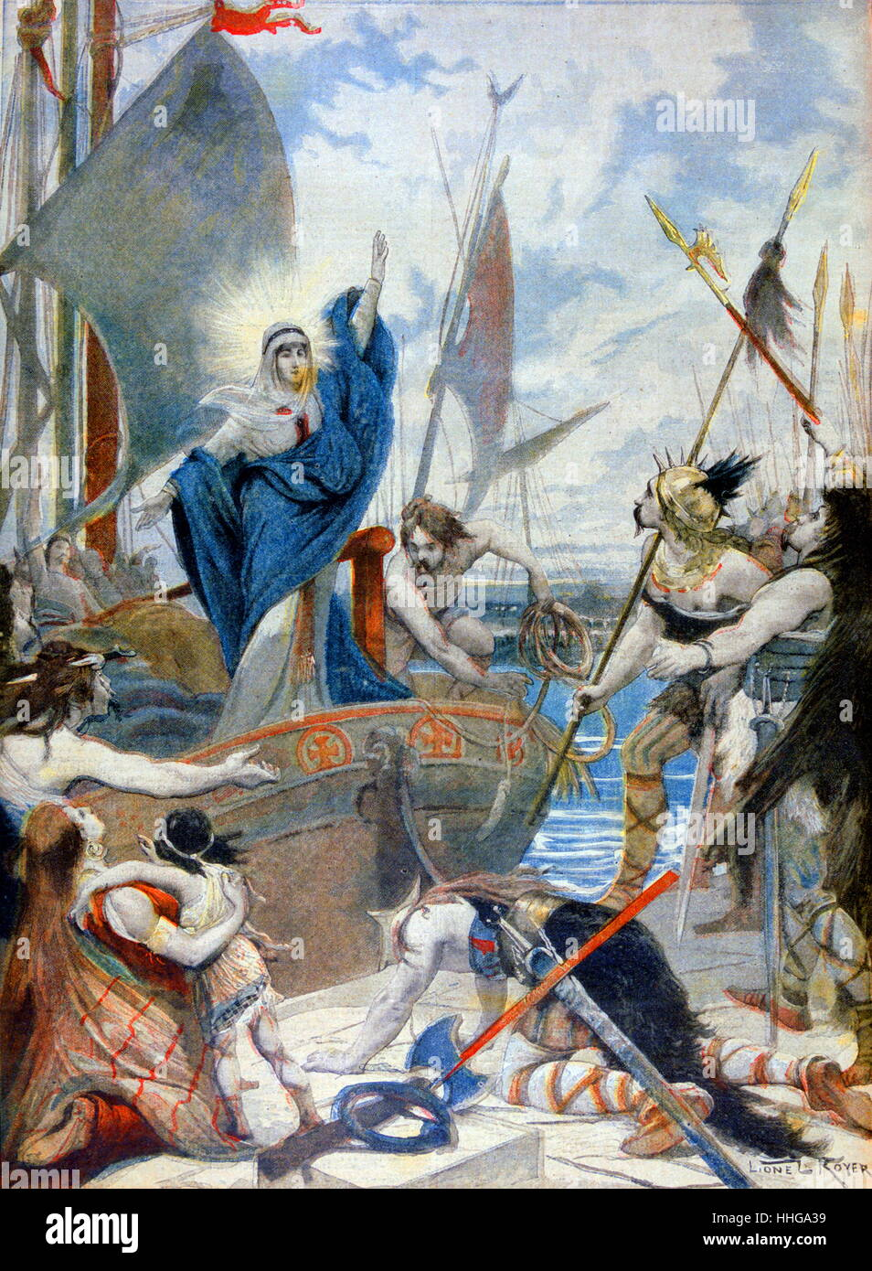 Saint Genevieve c. 419/422 AD – 502/512 AD, is the patron saint of Paris Stock Photo