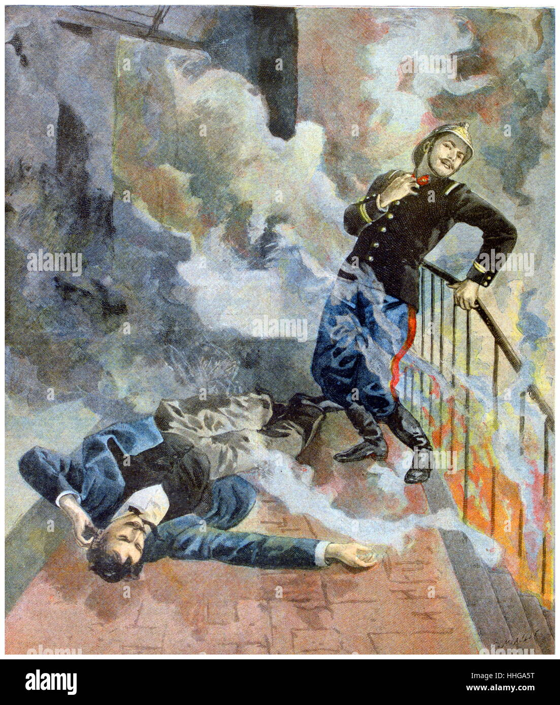 Illustration showing French fireman and civilian overcome by fumes during a fire. 1899 - Stock Image