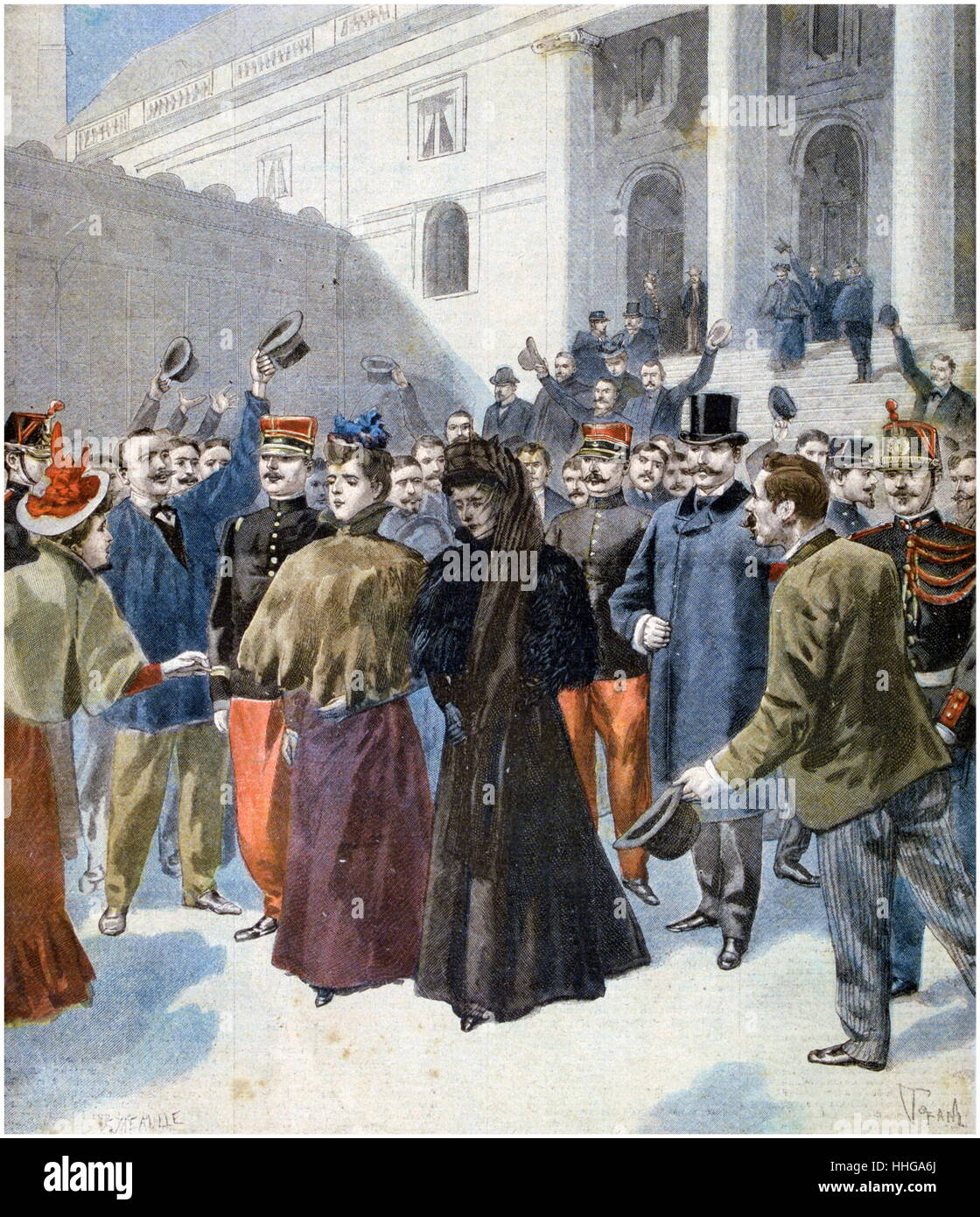 The wife of Henri Rochefort, an anti-Dreyfus journalist, leaves the libel trial of Joseph Reinach, - Stock Image