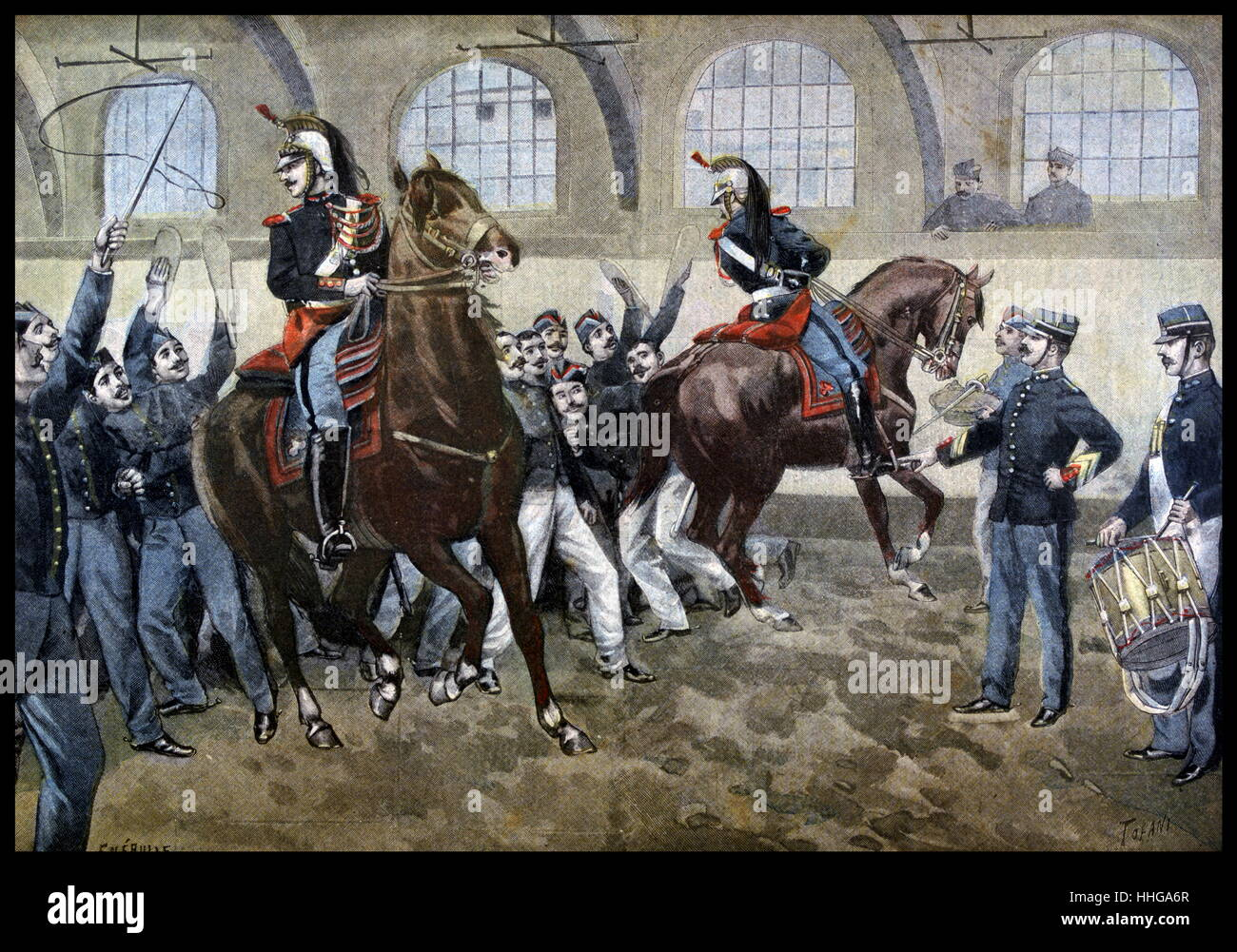 French cavalry in training, Ecole Militaire, Paris 1899 - Stock Image