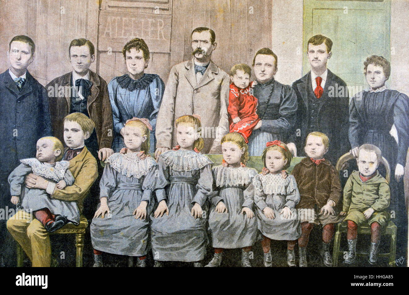 Illustration of a French family with 14 children 1899 - Stock Image