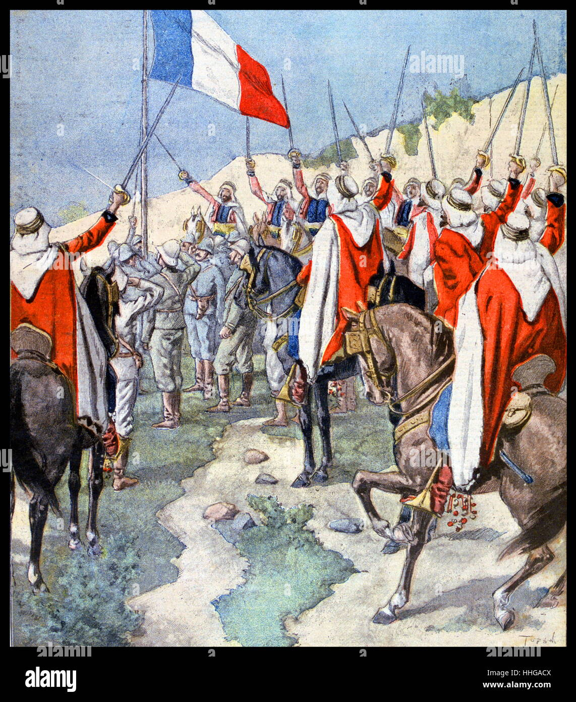 Illustration showing the French flag saluted by French and Arab colonial forces at Ain Salah an oasis town in central - Stock Image