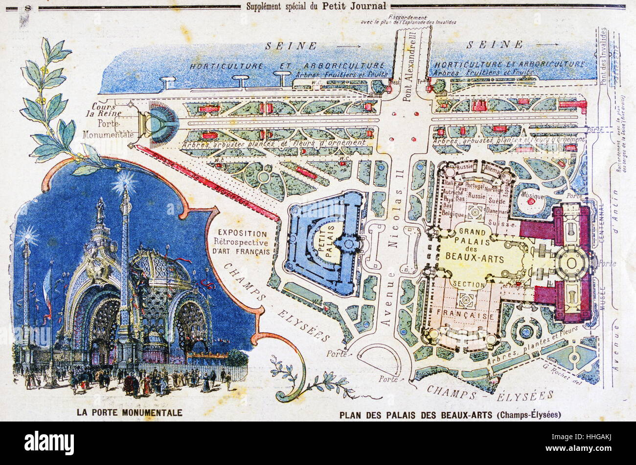 Illustration showing a plan of the exhibition areas for the Exposition Universelle of 1900. This was a fair held Stock Photo