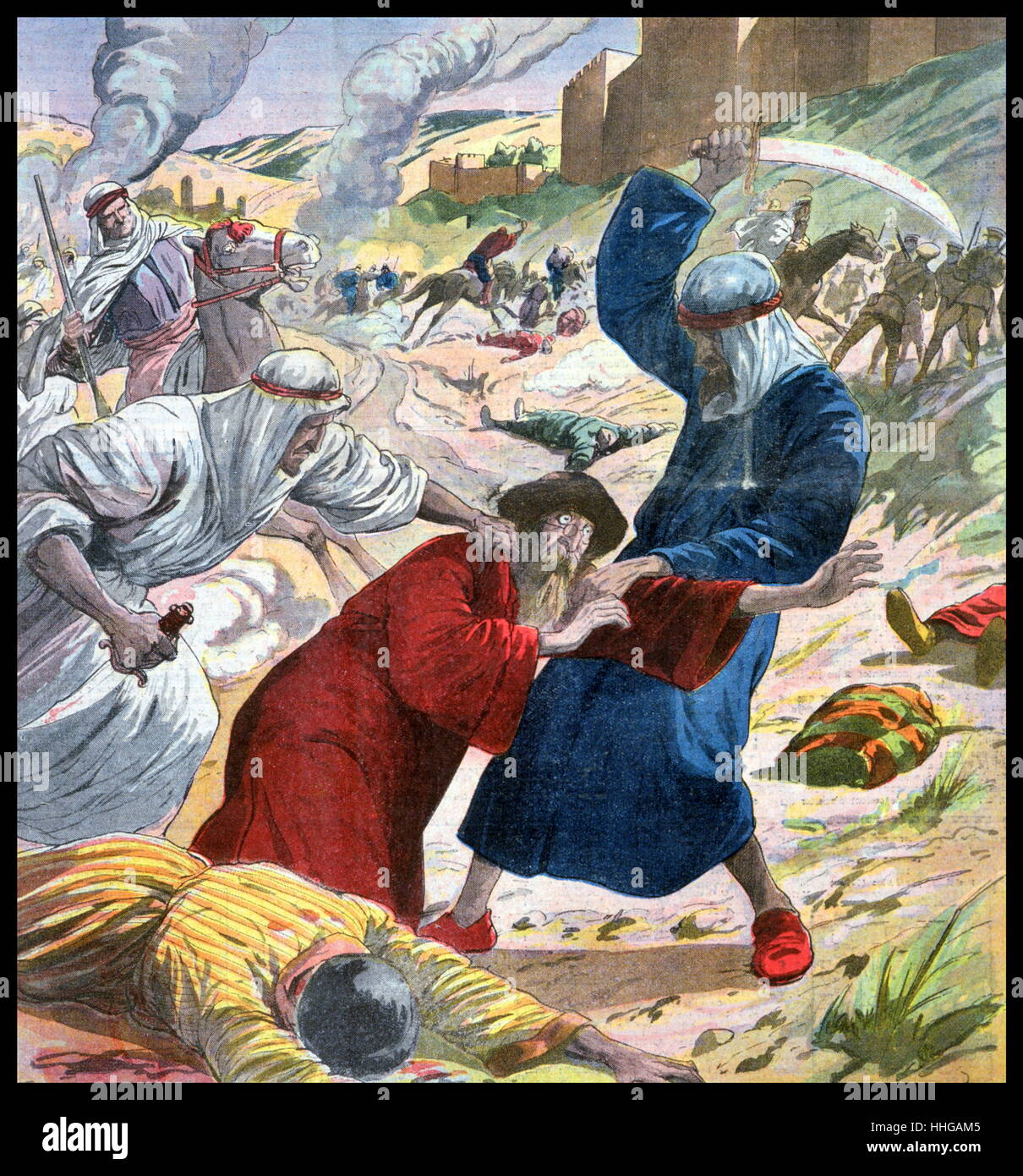 French magazine illustration, showing Arabs attacking Jews in the city of Jerusalem during riots in Palestine in - Stock Image