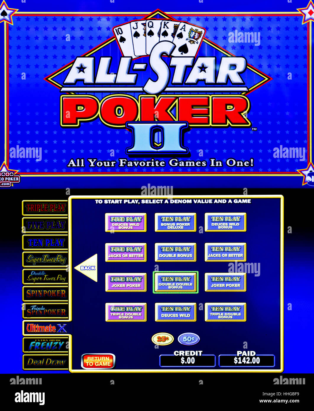 All Star Poker II gambling machine screen Stock Photo ...