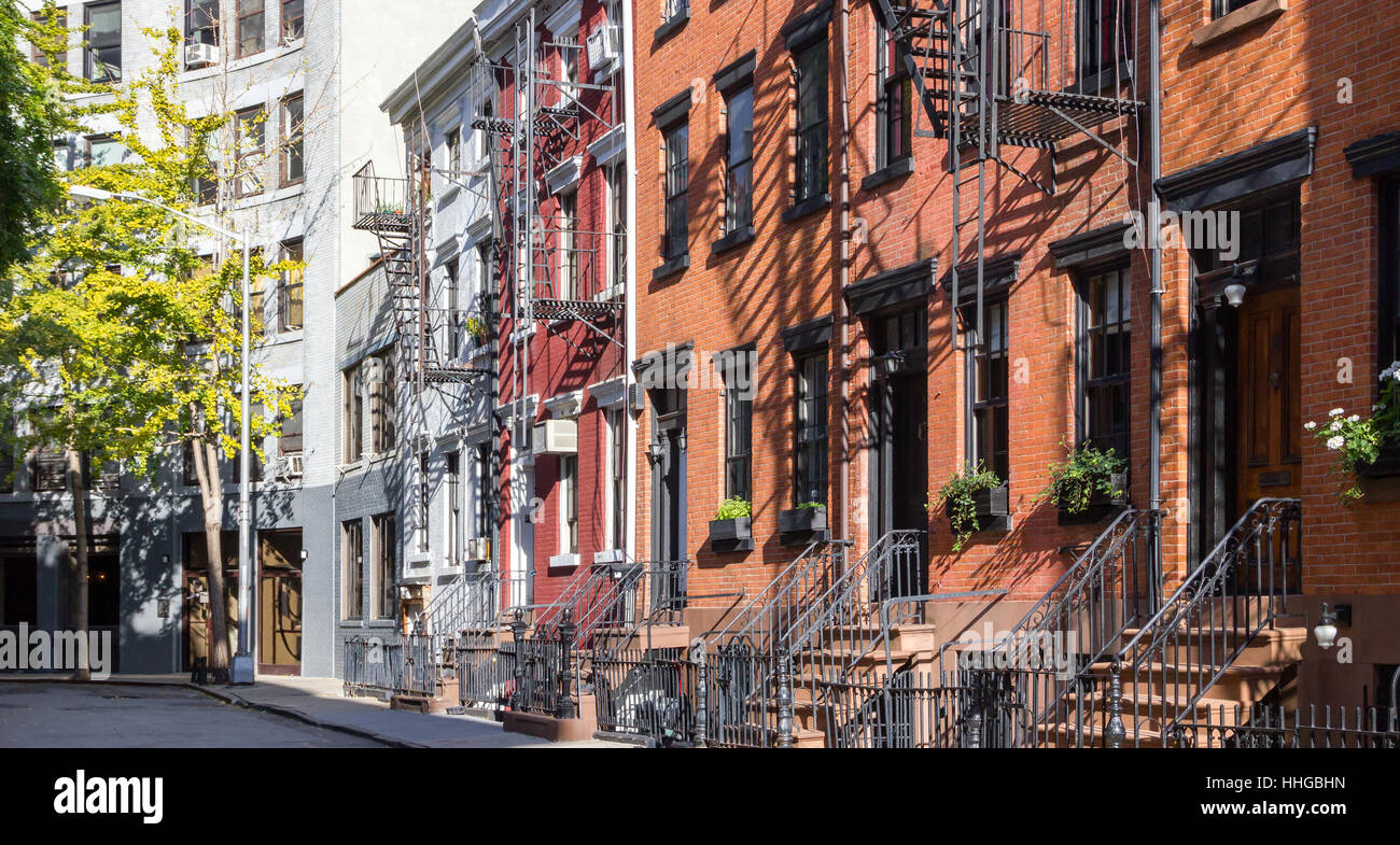 Panoramic view of colorful row of old buildings along Gay Street in the Greenwich Village neighborhood of Manhattan, Stock Photo