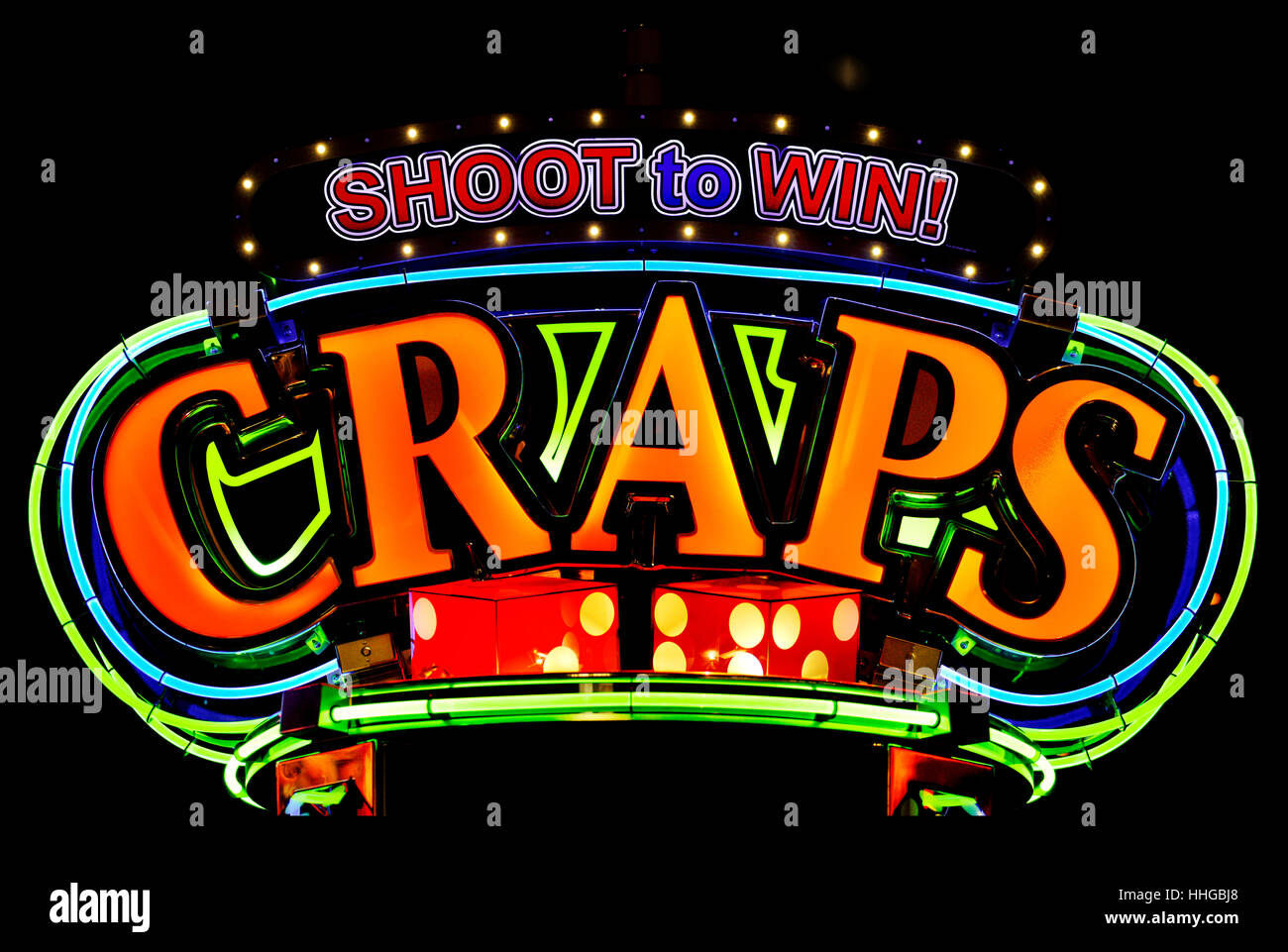 Shoot to Win Electronic Craps Game Neon Sign - Stock Image